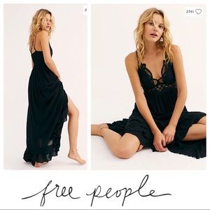 NWT $128 Free People Adela Lace Maxi Slip in Black